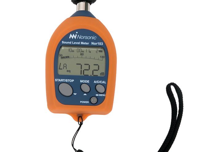 Nor103 støymåler til enklere målinger i arbeidsmiljø, utendørs støy og basismålinger av produkter.