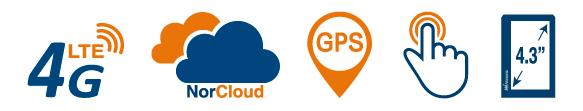 Nor145 støymåler med 4G, NorCloud, GPS og stor berøringsskjerm